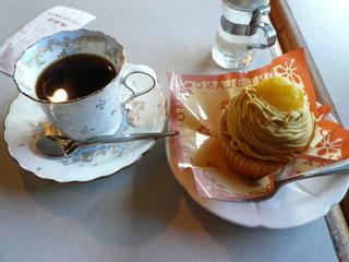 モンブランとコーヒーのセット